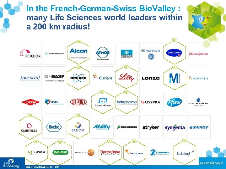 In the French-German-Swiss Bio. Valley : many Life Sciences world leaders within a 200