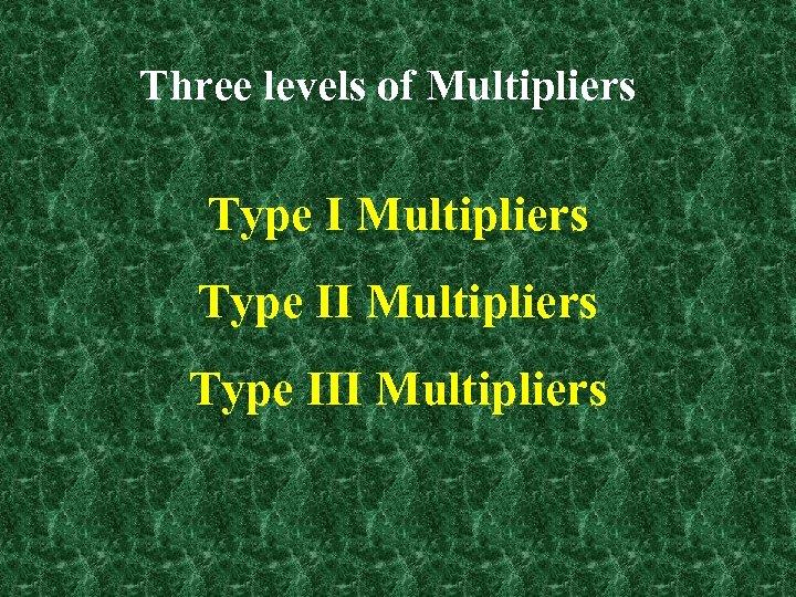 Three levels of Multipliers Type III Multipliers