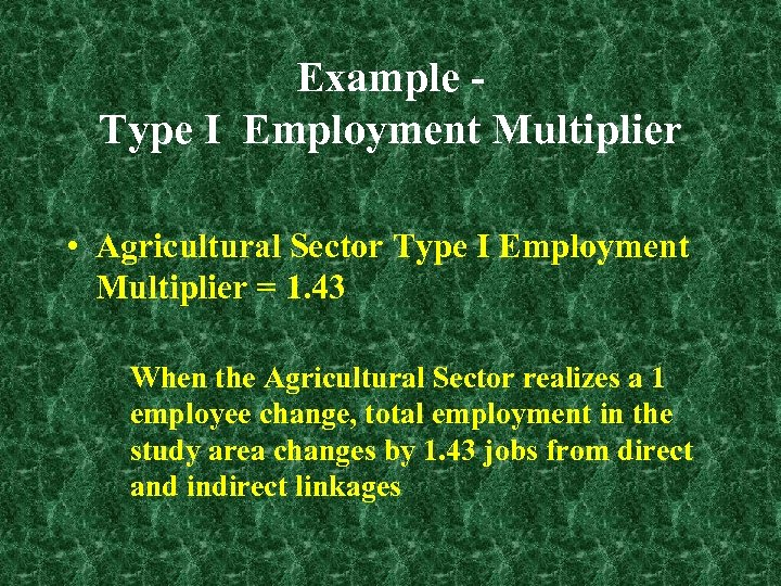 Example Type I Employment Multiplier • Agricultural Sector Type I Employment Multiplier = 1.