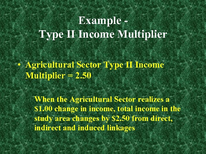 Example Type II Income Multiplier • Agricultural Sector Type II Income Multiplier = 2.