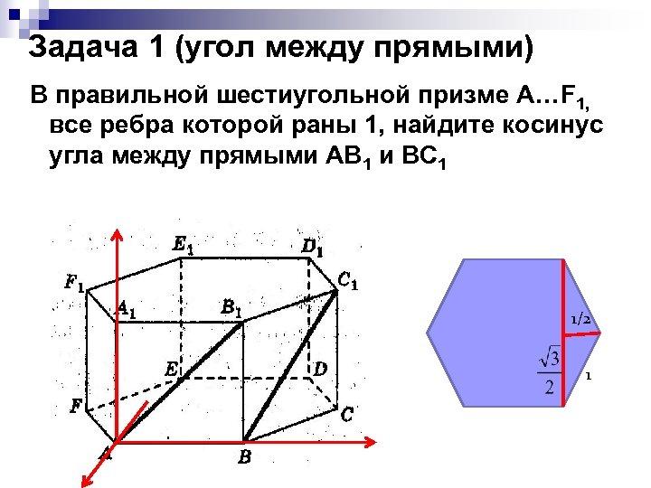 Задача 1 (угол между прямыми) В правильной шестиугольной призме А…F 1, все ребра которой