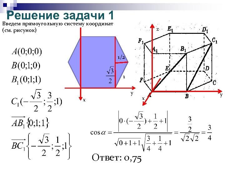 Решение задачи 1 Введем прямоугольную систему координат z (см. рисунок) 1/2 1 y x