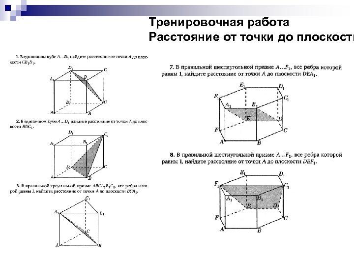 Тренировочная работа Расстояние от точки до плоскости