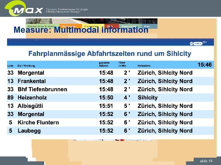 Measure: Multimodal information www. sihlcity. ch slide 14