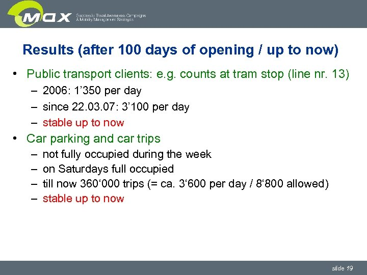 Results (after 100 days of opening / up to now) • Public transport clients: