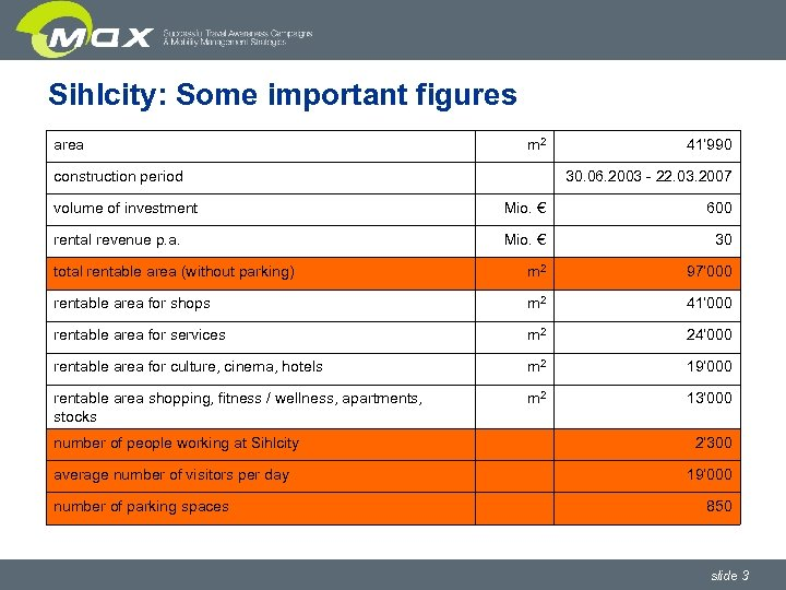 Sihlcity: Some important figures area m 2 construction period 41' 990 30. 06. 2003