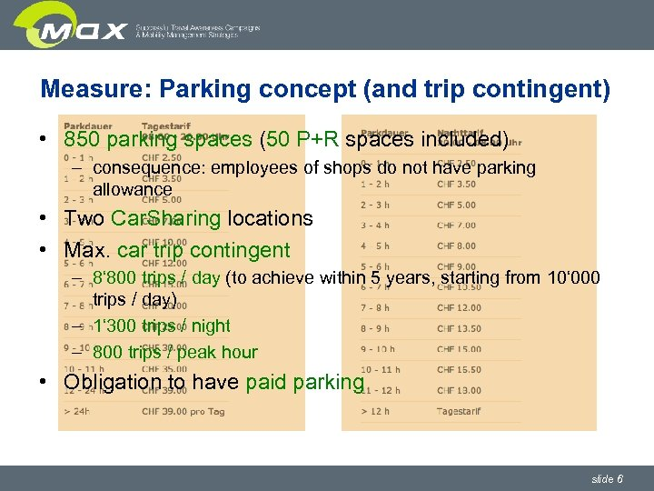 Measure: Parking concept (and trip contingent) • 850 parking spaces (50 P+R spaces included)