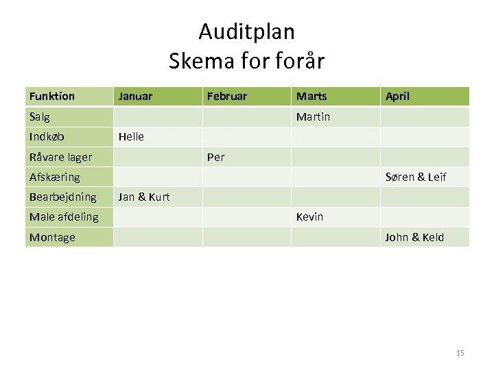 Auditplan Skema forår Funktion Januar Februar Salg Indkøb Marts Martin Helle Råvare lager Per