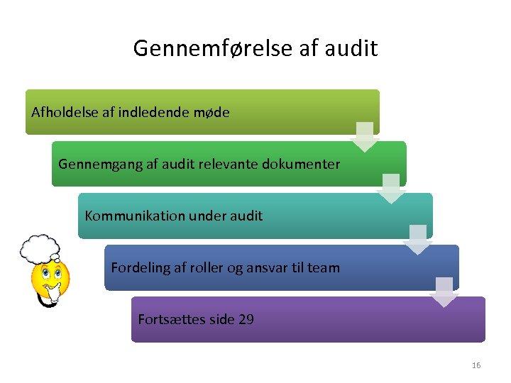 Gennemførelse af audit Afholdelse af indledende møde Gennemgang af audit relevante dokumenter Kommunikation under