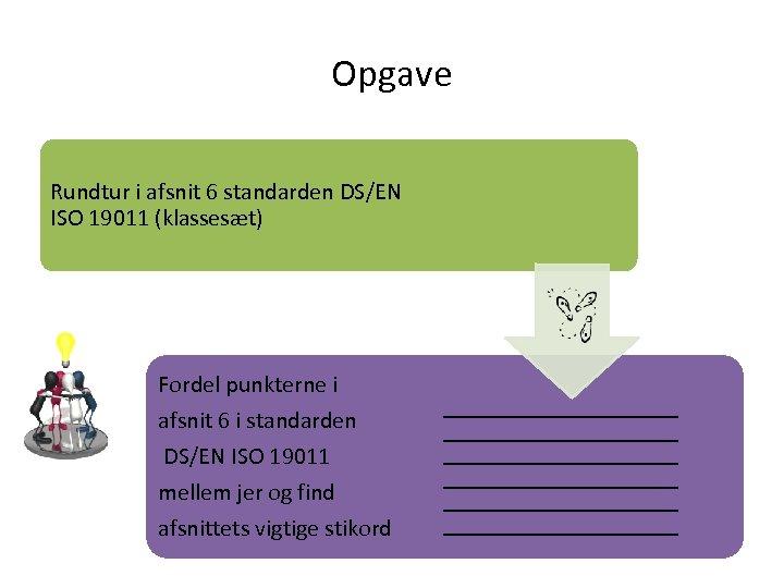 Opgave Rundtur i afsnit 6 standarden DS/EN ISO 19011 (klassesæt) Fordel punkterne i afsnit