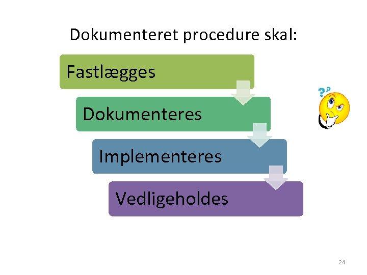 Dokumenteret procedure skal: Fastlægges Dokumenteres Implementeres Vedligeholdes 24