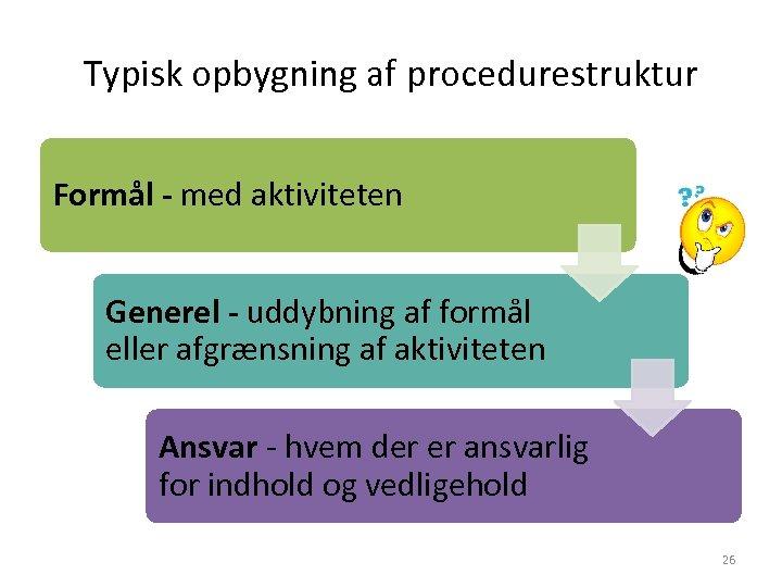 Typisk opbygning af procedurestruktur Formål - med aktiviteten Generel - uddybning af formål eller