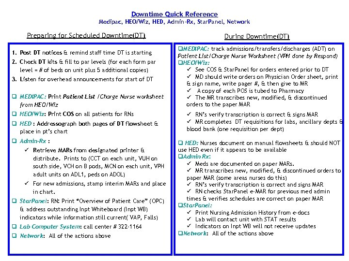 Downtime Quick Reference Medipac, HEO/Wiz, HED, Admin-Rx, Star. Panel, Network Preparing for Scheduled Downtime(DT)