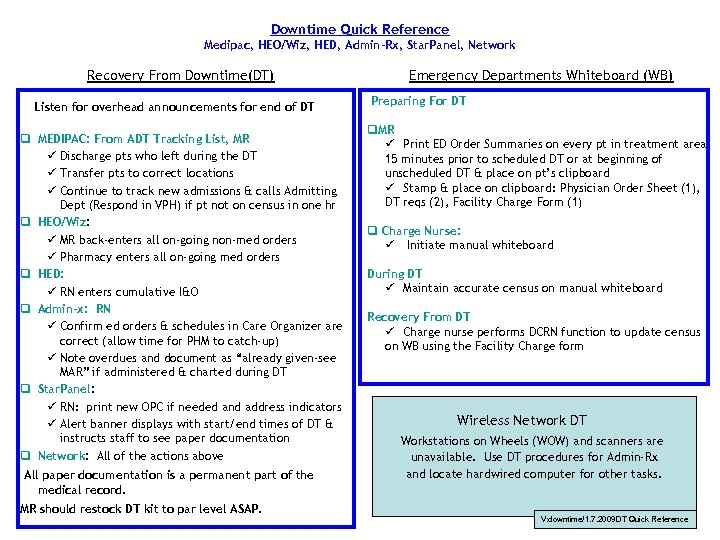 Downtime Quick Reference Medipac, HEO/Wiz, HED, Admin-Rx, Star. Panel, Network Recovery From Downtime(DT) Listen
