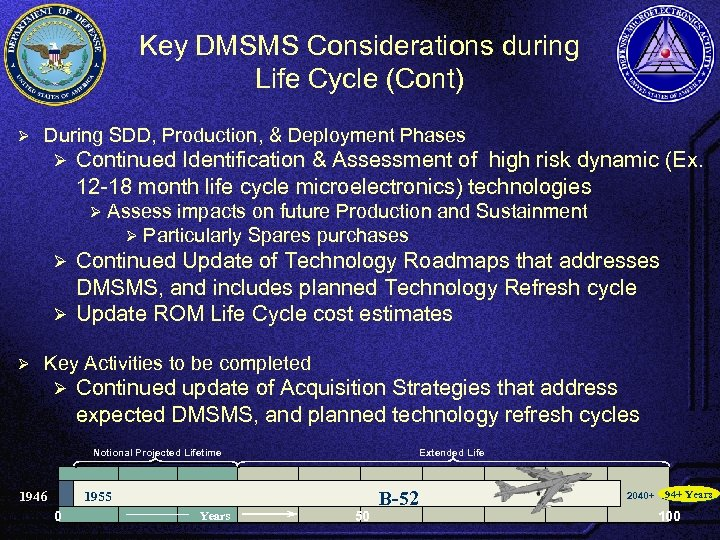 Key DMSMS Considerations during Life Cycle (Cont) Ø During SDD, Production, & Deployment Phases