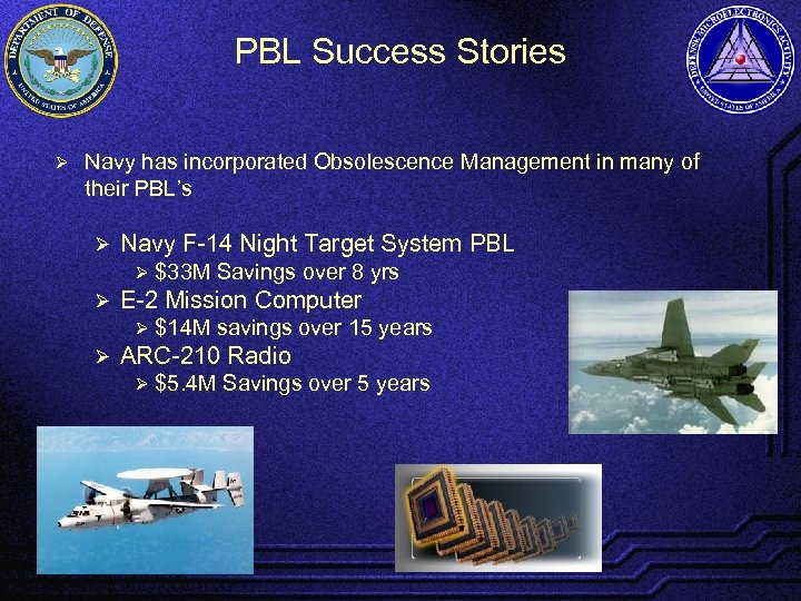 PBL Success Stories Ø Navy has incorporated Obsolescence Management in many of their PBL's
