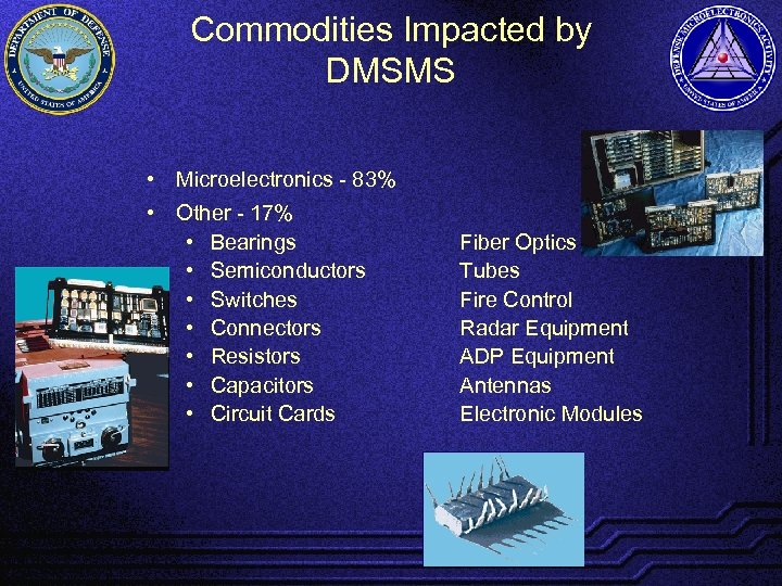 Commodities Impacted by DMSMS • Microelectronics - 83% • Other - 17% • Bearings