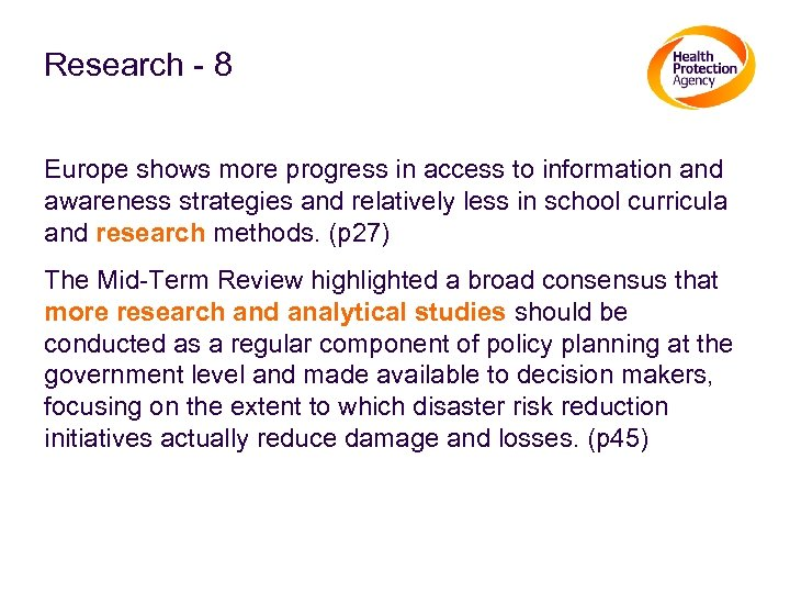 Research - 8 Europe shows more progress in access to information and awareness strategies