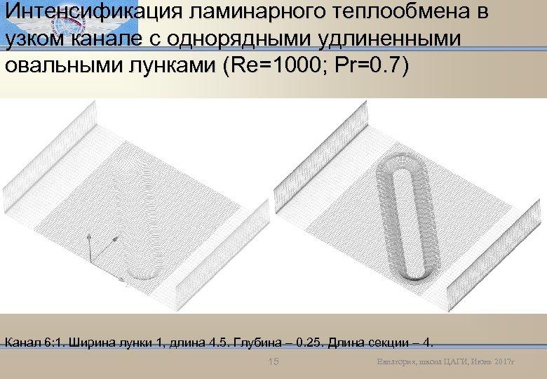 Интенсификация ламинарного теплообмена в узком канале с однорядными удлиненными овальными лунками (Re=1000; Pr=0. 7)