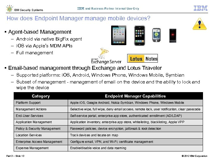 IBM Security Systems How does Endpoint Manager manage mobile devices? § Agent-based Management -