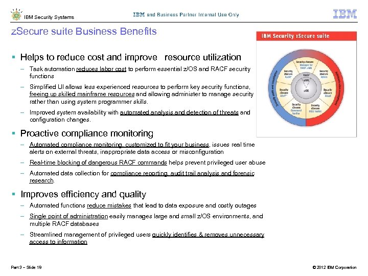 IBM Security Systems z. Secure suite Business Benefits § Helps to reduce cost and
