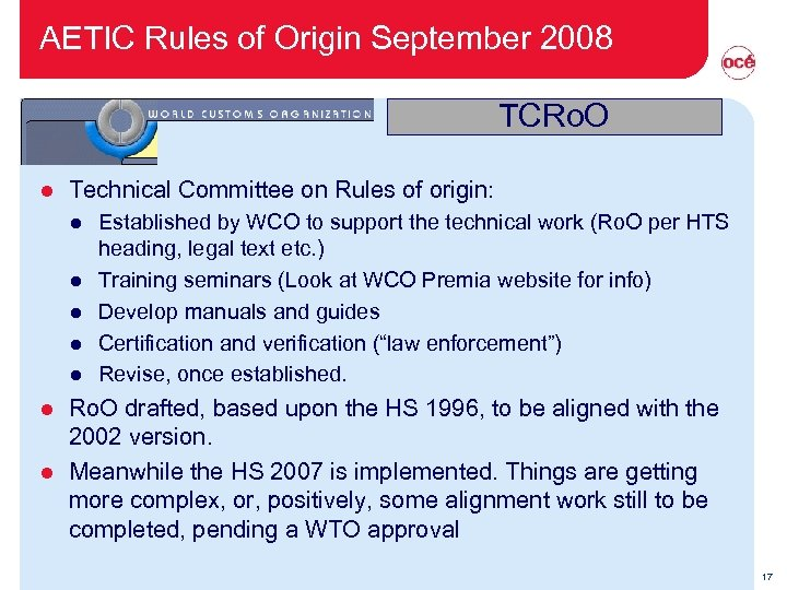 AETIC Rules of Origin September 2008 TCRo. O l Technical Committee on Rules of