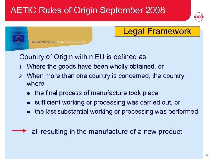AETIC Rules of Origin September 2008 Legal Framework Country of Origin within EU is