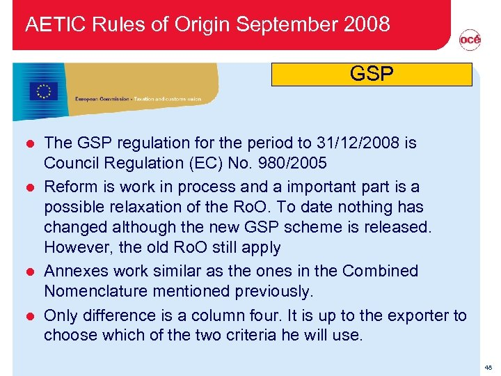 AETIC Rules of Origin September 2008 GSP The GSP regulation for the period to