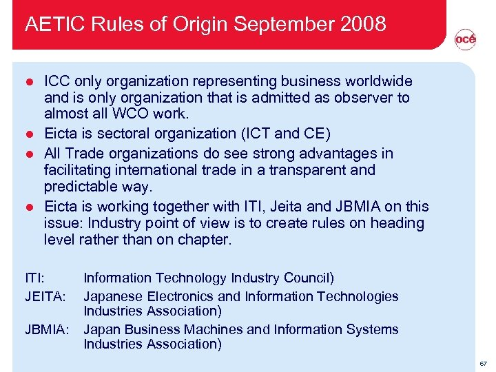 AETIC Rules of Origin September 2008 ICC only organization representing business worldwide and is