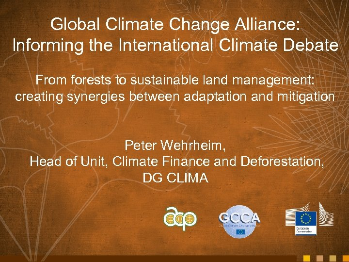 Global Climate Change Alliance: Informing the International Climate Debate From forests to sustainable land