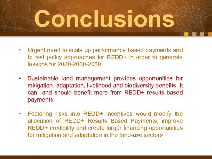Conclusions • Urgent need to scale up performance based payments and to test policy