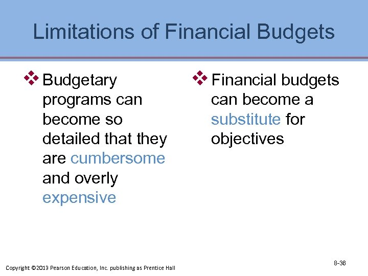 Limitations of Financial Budgets v Budgetary programs can become so detailed that they are