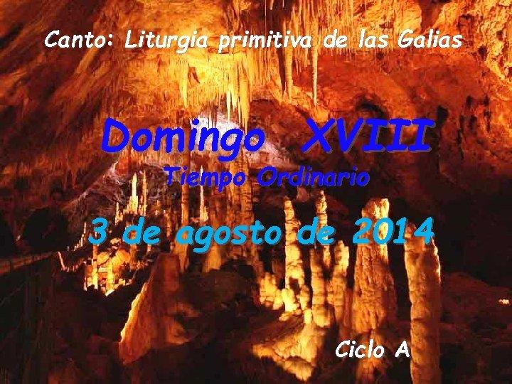 Canto: Liturgia primitiva de las Galias Domingo XVIII Tiempo Ordinario 3 de agosto de