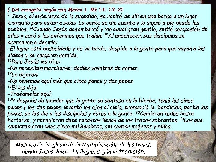 ( Del evangelio según san Mateo ) Mt 14: 13 -21 13 Jesús, al
