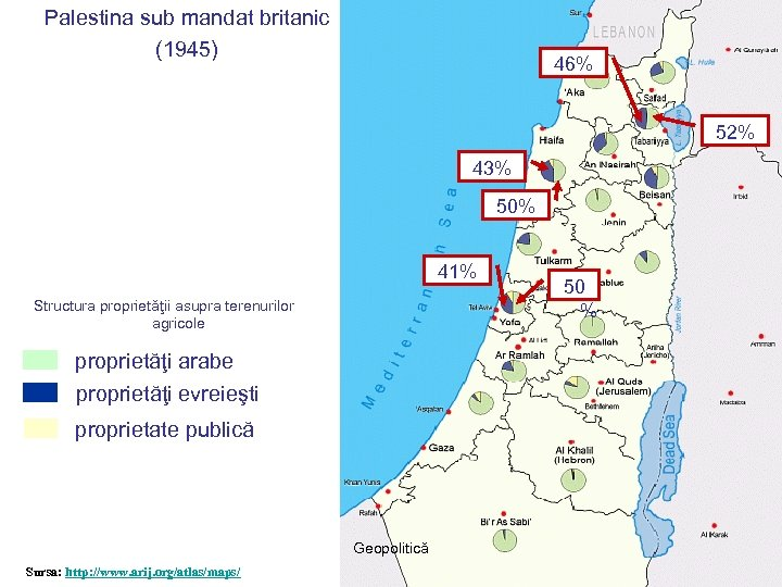 Palestina sub mandat britanic (1945) 46% 52% 43% 50% 41% Structura proprietăţii asupra terenurilor