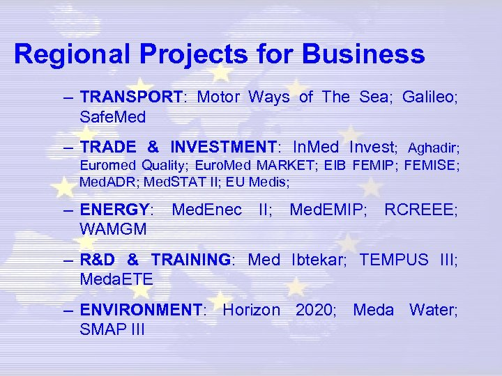 Regional Projects for Business – TRANSPORT: Motor Ways of The Sea; Galileo; Safe. Med