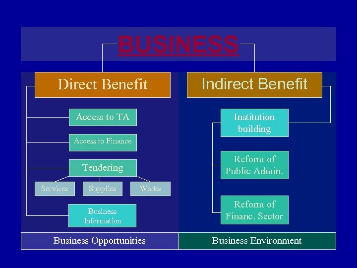 BUSINESS Direct Benefit Indirect Benefit Access to TA Institution building Access to Finance Reform