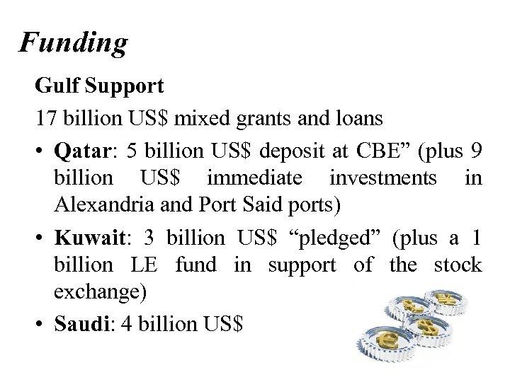 Funding Gulf Support 17 billion US$ mixed grants and loans • Qatar: 5 billion