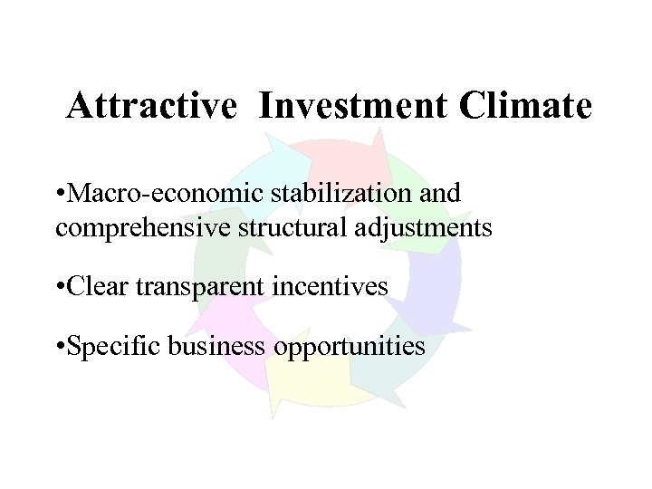 Attractive Investment Climate • Macro-economic stabilization and comprehensive structural adjustments • Clear transparent incentives