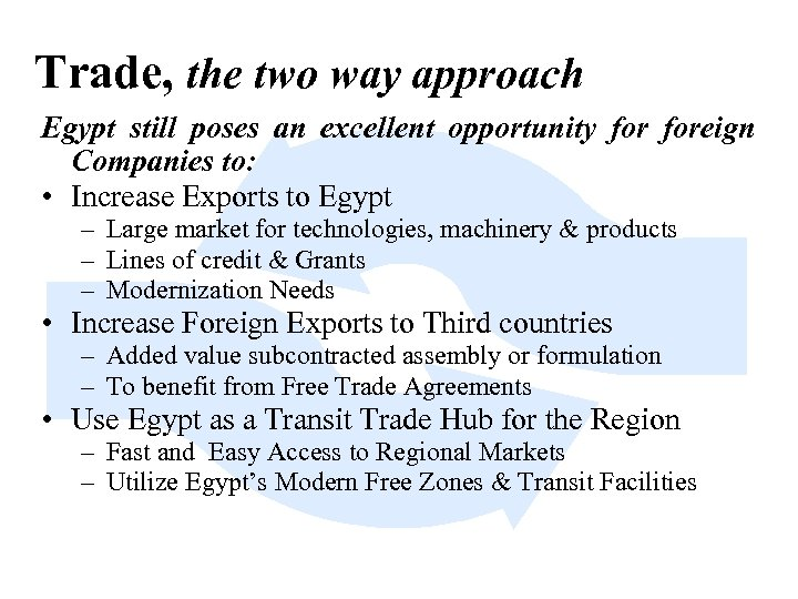 Trade, the two way approach Egypt still poses an excellent opportunity foreign Companies to: