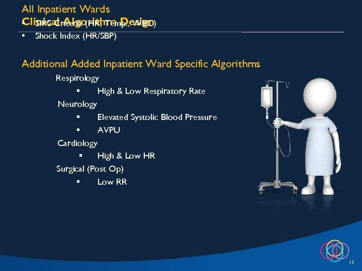 All Inpatient Wards Clinical Algorithm Design • SIRS Criteria (HR, Temp. , WBC) •