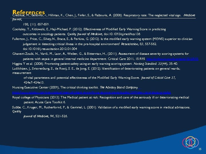 Referencesr. , Hillman, K. , Chen, J. , Finfer, S. , & Flabouris, A.