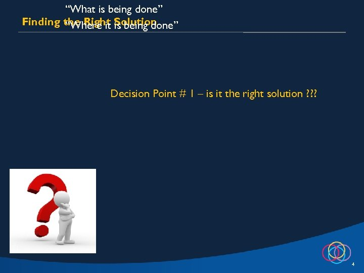 """""""What is being done"""" Finding the Right Solution """"Where it is being done"""" Decision"""