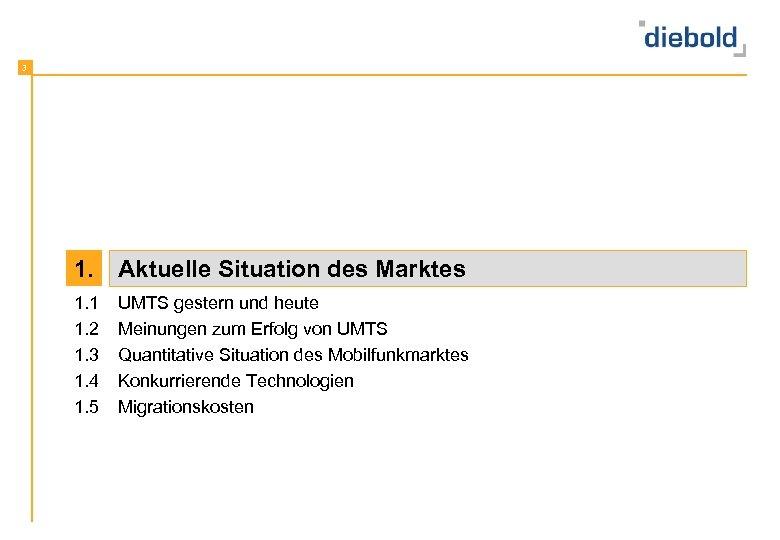 3 1. Aktuelle Situation des Marktes 1. 1 1. 2 1. 3 1. 4