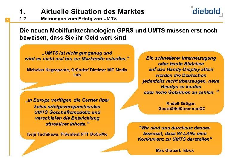 1. 5 Aktuelle Situation des Marktes 1. 2 Meinungen zum Erfolg von UMTS Die
