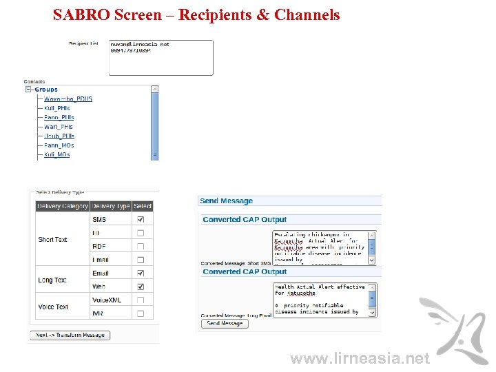 SABRO Screen – Recipients & Channels www. lirneasia. net