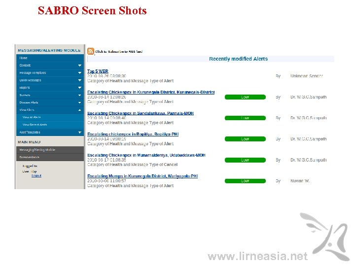 SABRO Screen Shots www. lirneasia. net