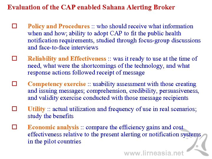 Evaluation of the CAP enabled Sahana Alerting Broker Policy and Procedures : : who