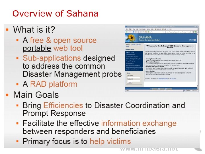 Overview of Sahana www. lirneasia. net
