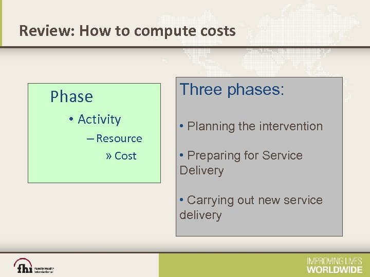 Review: How to compute costs Phase • Activity – Resource » Cost Three phases: